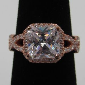 Vintage Size 5 Sterling Rose Gold Plated CZ Ring